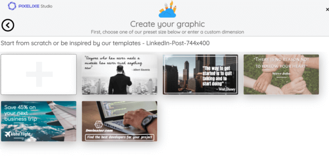 PIXELIXE : Create and design linkedin post easily and for free